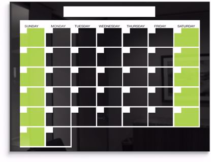 Picture of  Black Magnetic Glass Calendar Board 2x3