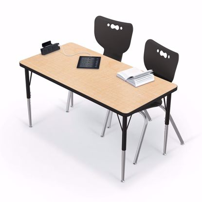 "Picture of Activity Table - 24""x60"" Rectangle - Amber Cherry Top Surface - Black Edgeband Addt'l colors and edges available"