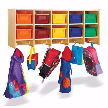 Picture of Jonti-Craft® 10 Section Wall Mount Coat Locker - with Colored Trays
