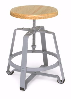 Picture of METAL STOOL- CHAIR HT MAPLE SEAT & GRAY LEGS