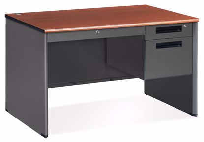 Picture of 30x48 Sgl Ped Desk w/CD Gry Frame Cherry