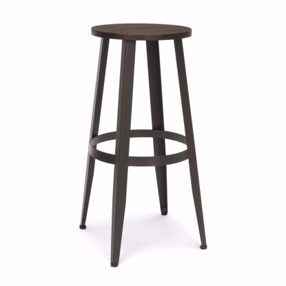 "Picture of Edge Wooden Stool 30"" High Walnut"