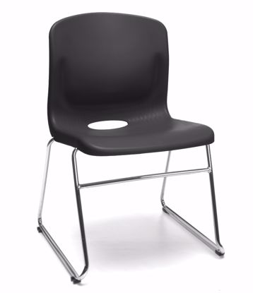 Picture of 4 PACK BLACK SLED BASE CHAIR W/LUMBAR SUPPORT