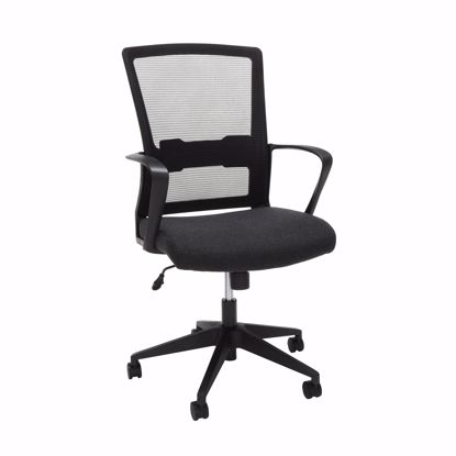 Picture of Black Mid-Back Mesh Work Chair, Black Fabric