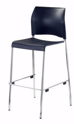 Picture of NPS® Cafetorium Bar Stool, Plastic Seat, Black